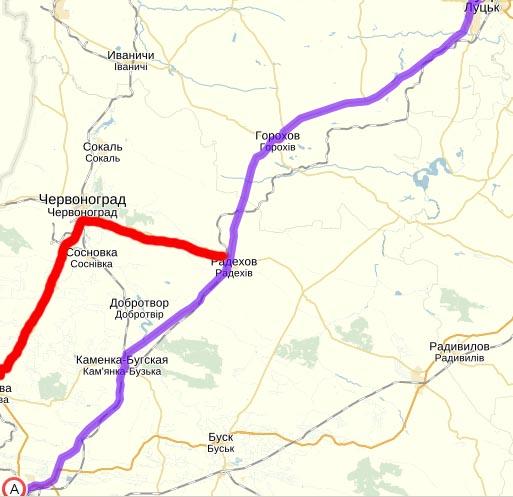 Трасса Львов-Луцк и дорога на Червоноград